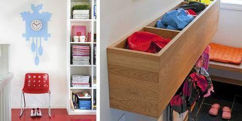 kasse til votter med knagger under