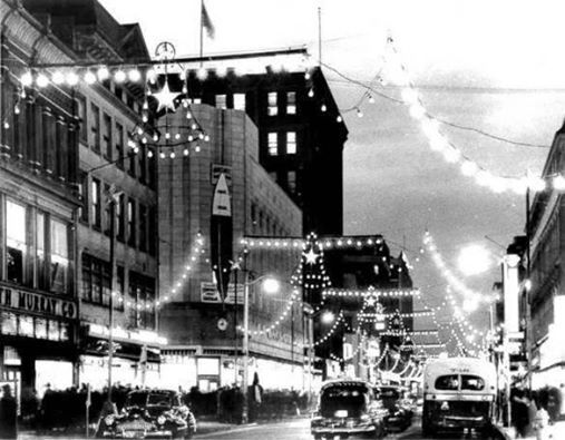 Happy Holidays from the Bridgeport Public Library - Main Street Bridgeport late 1940's.
