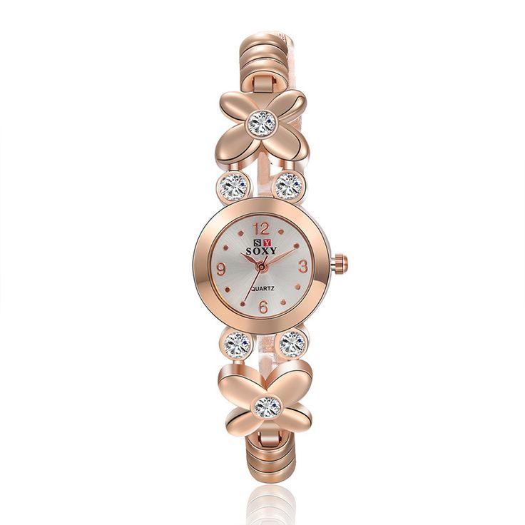 Ladies Rose Gold Watches Bracelet Watch Women Elegant Beautiful Female Wristwatch Hardlex Relogio Feminino