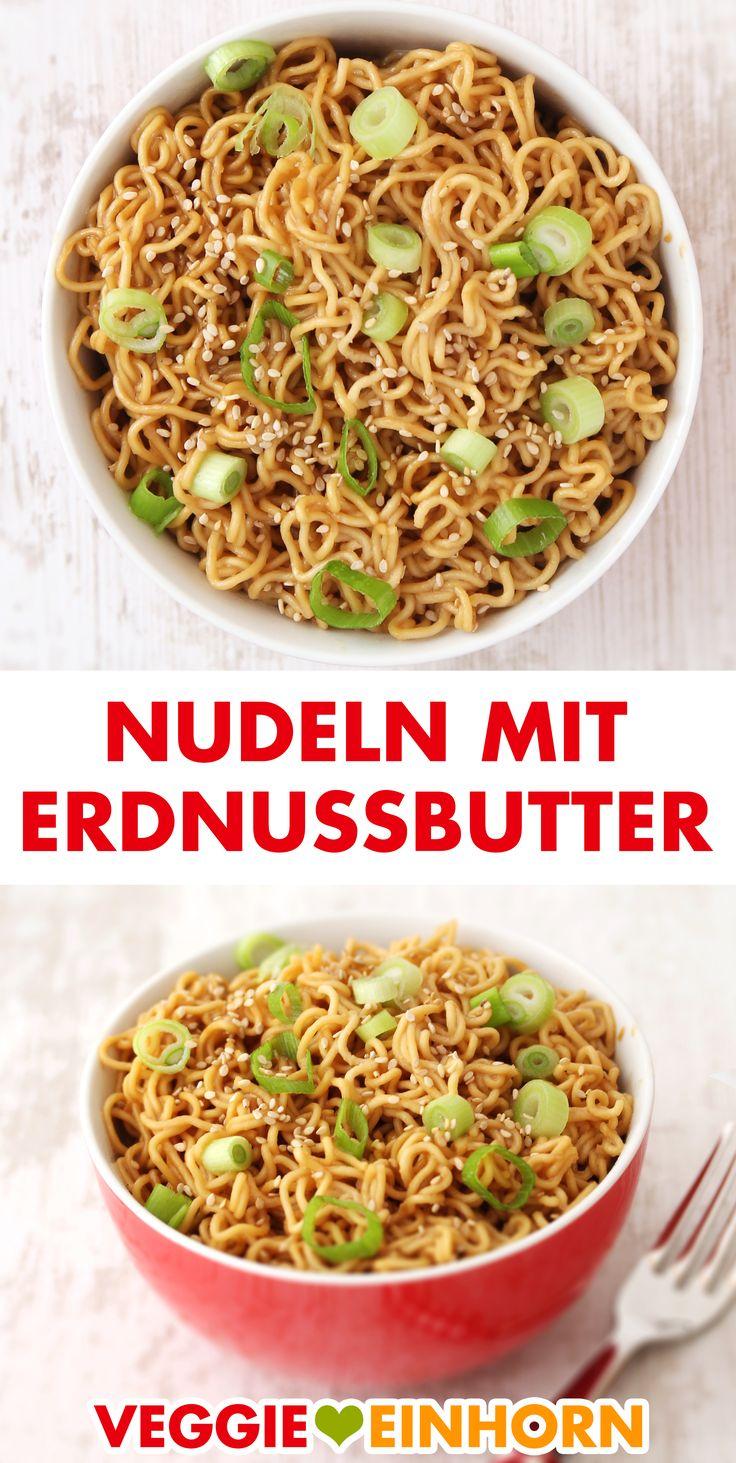 Asiatische Nudeln mit schneller Erdnussbutter Soße ▶ Einfach und lecker vegan kochen!