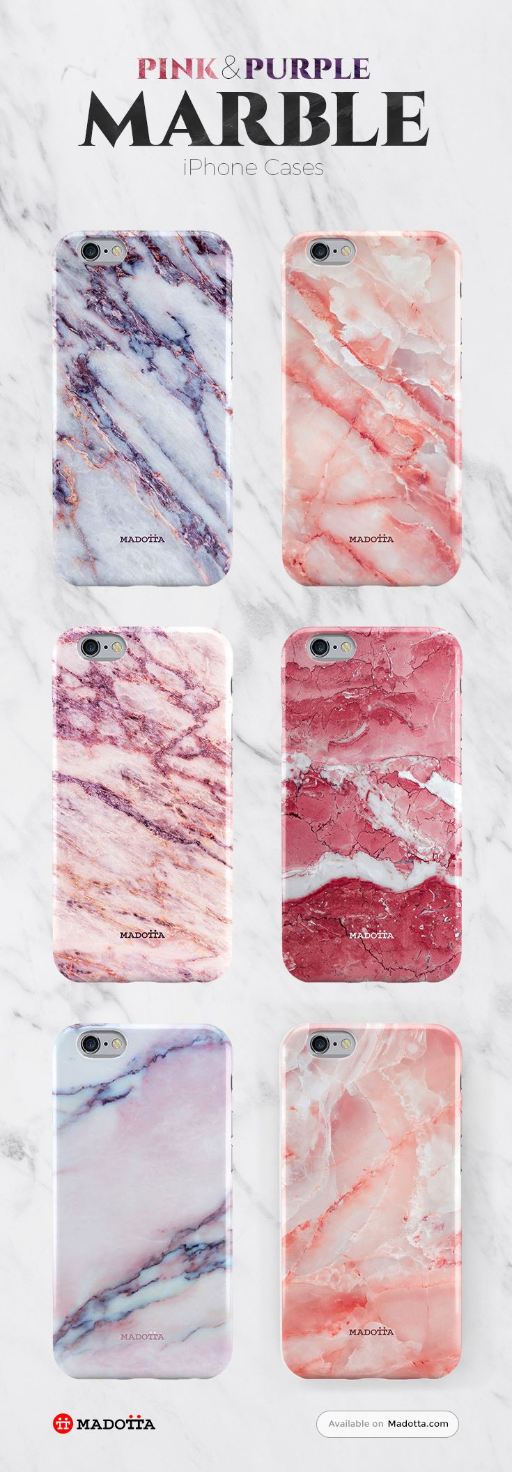 Purple and Pink Marble iPhone 7 Cases by #Madotta View more designs at https://madotta.com/collections/marble-iphone-cases/?utm_term=caption+link&utm_medium=Social&utm_source=Pinterest&utm_campaign=IG+to+Pinterest+Auto