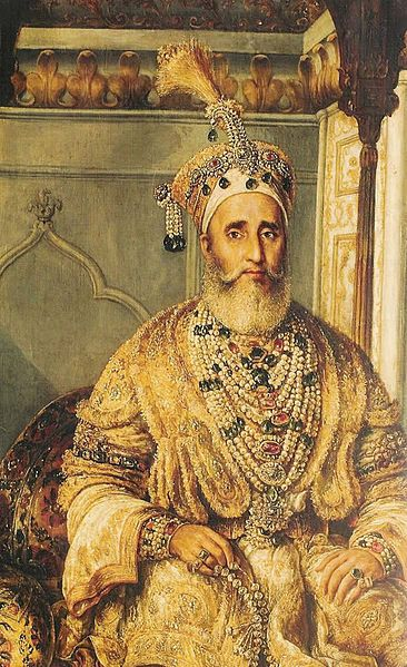 "Mirza Abu Zafar Sirajuddin Muhammad Bahadur Shah Zafar (1775 – 1862), was the last Mughal emperor & a member of the Timurid Dynasty. Zafar was the son of Mirza Akbar Shah II & Lalbai, who was a Hindu Rajput, & became Mughal Emperor when his father died in 1837. He used Zafar, a part of his name, meaning ""victory"", for his nom de plume (takhallus) as an Urdu poet, & he wrote many Urdu ghazals under it."
