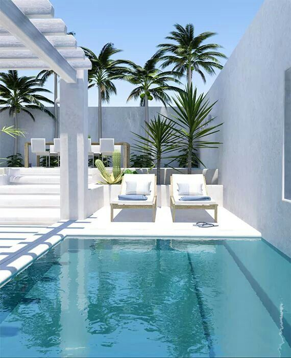 Love this beautiful white outside chillout zone with swimmingpool for my dream house