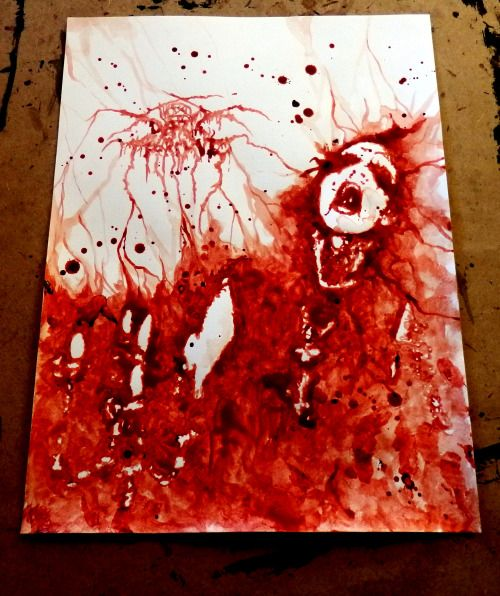 "Another one for the serie about black metal. ""Transilvanian Hunger"" (painted with my blood) For sale! Contact me if you are interested."
