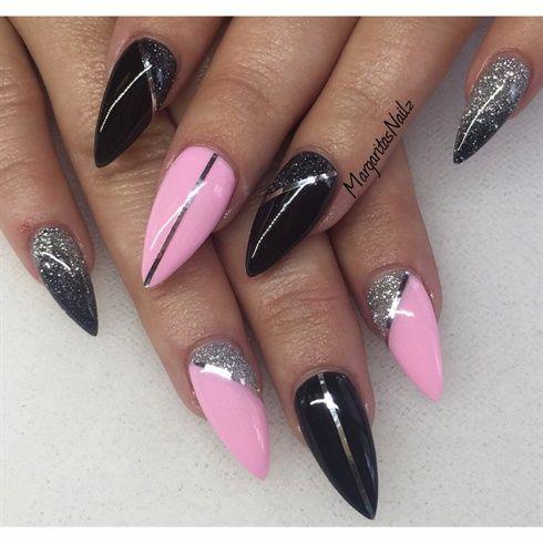 Black & Baby Pink Stiletto nails