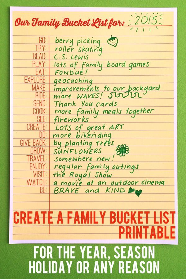 Use the word prompts on this handy printable bucket list to decide as a family how you'll have fun together this year, this season, on holiday or for any reason. Love this fill-in-the-blank bucket list!