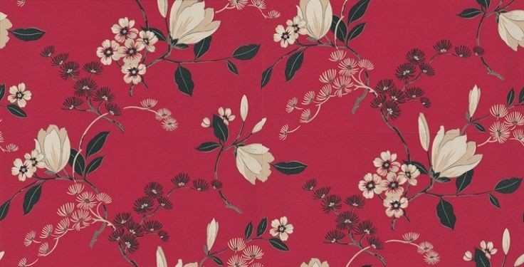 Albany House Vinyls 9 (822519) - Albany Wallpapers - A smart versatile raised textured vinyl wallcovering featuring a stunning floral trail design. Showing in cream and black with metallic effects on a red background. Please request a sample for true colour match. More colours are available.
