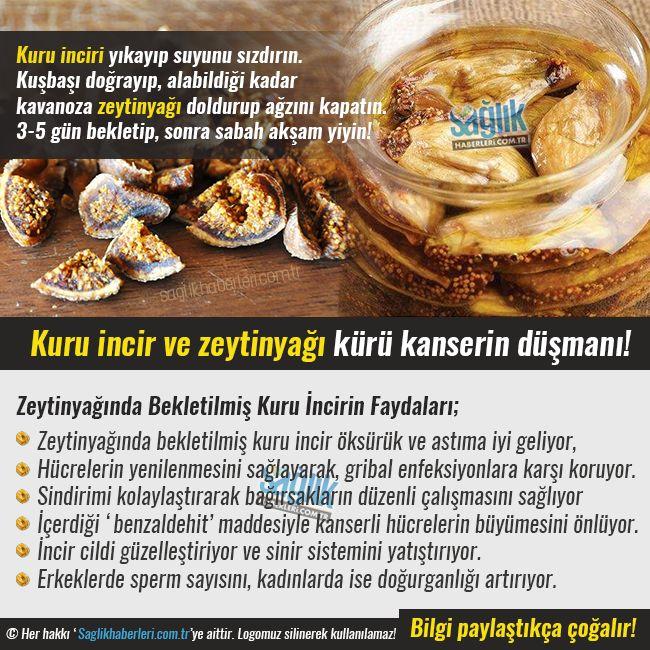 Kanser İçin Zeytinyağı ve Kuru İncir Kürü Kuru inciri yıkayıp suyunu sızdırın. Kuşbaşı doğrayıp alabildiği kadar kavanoza (hakiki) zeytin yağı ile beraber doldurup ağzını kapatın. 3-5 gün bekletip sonra sabah akşam (aç karına) yiyin. Buna devam edin.  #sağlık #saglik #sağlıkhaberleri #health #healthnews @saglikhaberleri