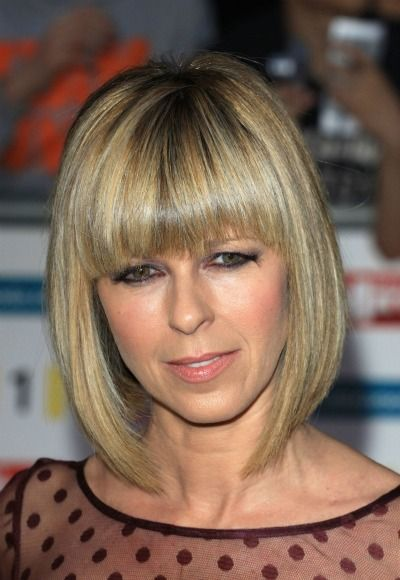 Kate Garraway is fashionable and cool with this bob hairstyle. She cuts straight across bangs for an edgy look. Photo courtesy WENN.