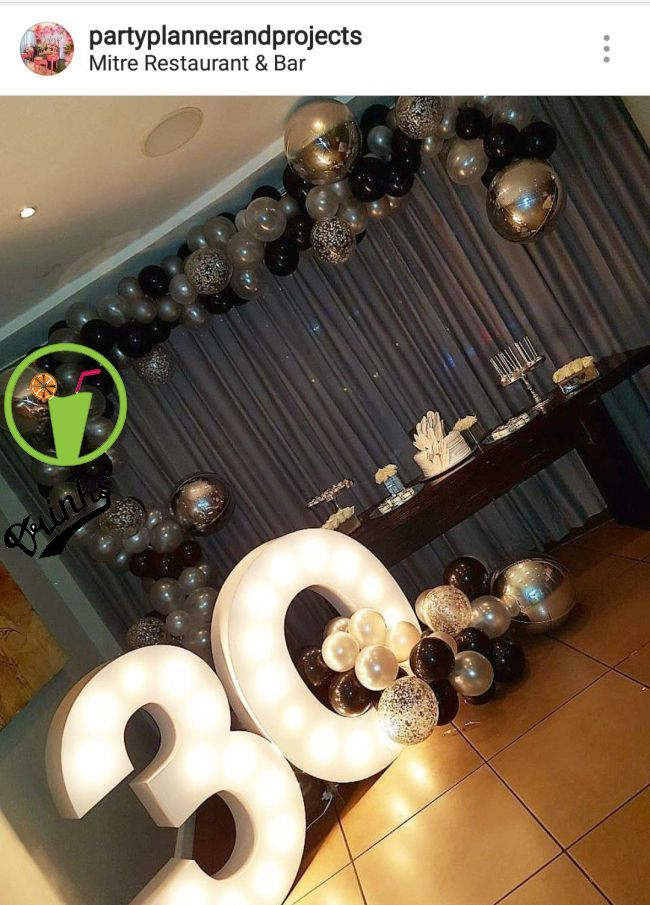 30th Black Silver And White Dessert Table And Decor 30th