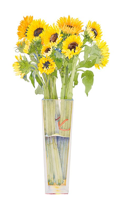 Gary Bukovnik - Galerie Thomas Reynolds - San Francisco - Tournesols dans un grand vase - 36 po x 21 po