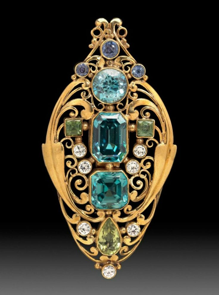 """Frank Gardner Hale, jeweled scroll brooch, about 1920""."