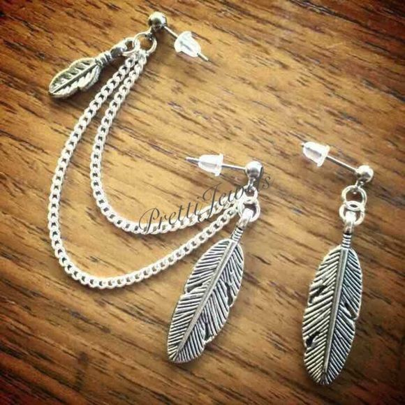 """Feathers double piercing earring Handmade to order  Antiqued silver feather charm 1"""" tall  chain lengths 3"""" & 2.5"""" surgical steel studs (hypoallergenic) Jewelry"""