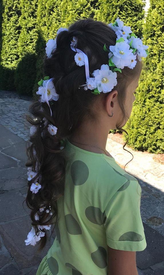 Nasza Gałązka Kwiatowa Podwójna 140 cm Biel i Zieleń Komunia Pierwsza Komunia Św Ślub Ozdoba do włosów Stroik