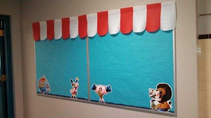 1st/2nd grade circus theme bulletin board before artwork