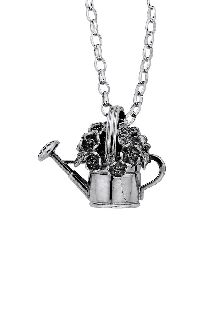 Watering Can & Flowers Pendant Silver - All Jewellery | Karen Walker