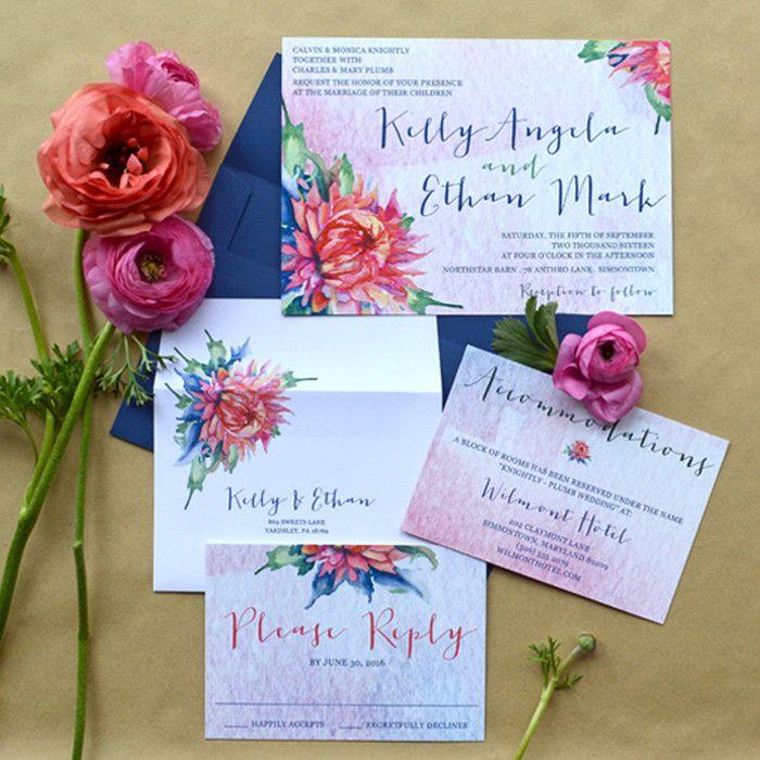 navy blue and kelly green wedding invitations%0A   Kelly   Boho Floral Wedding Invitation
