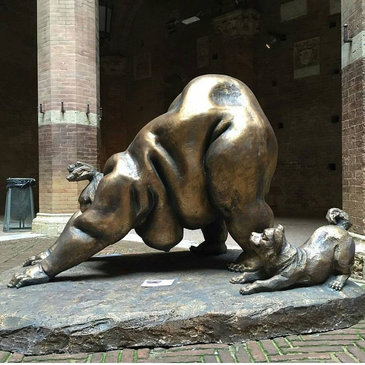 """Xu Hongfei's ""Chubby Woman"" sculpture at Siena, Italy. As seen by@seanecorn.  Born in 1963, Xu Hongfei is good at applying various materials to create his…"""