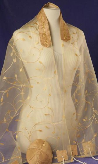 Gold chiffon prayer shawl (also comes in silver)