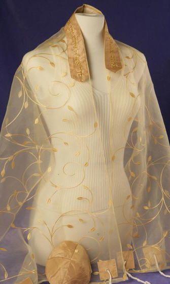 Gold chiffon prayer shawl (also comes in silver)
