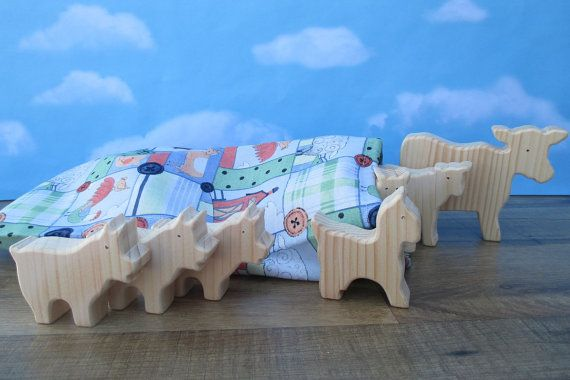 Wooden farm animal toys  Wooden animal toys for by WoodenYaPlay