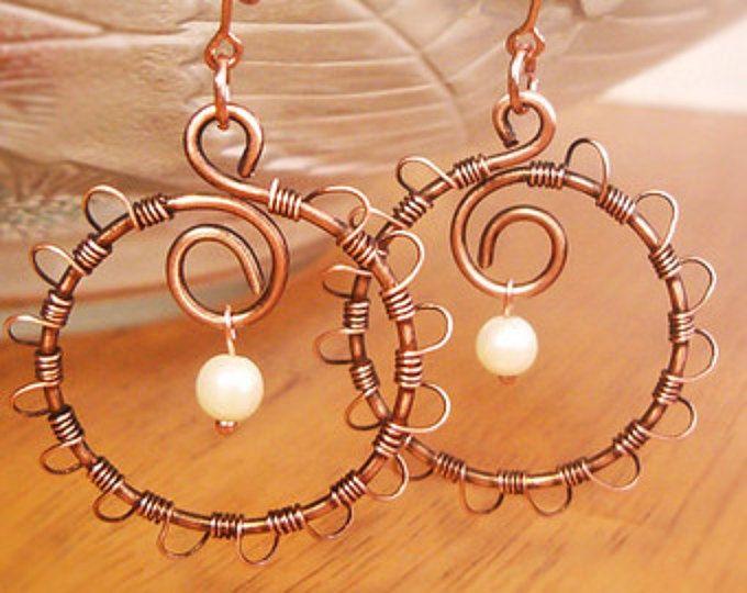 Wire Wrapped Earrings Old-Looking Copper - Handmade Copper Earrings - Copper Jewelry