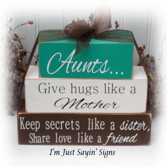 Aunts Give Hugs Like A Mother, Keep Secrets Like A Friend Wood Stacker blocks on Etsy, $17.95
