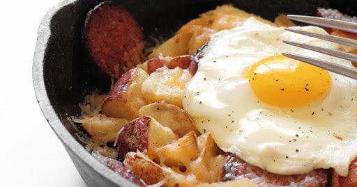 Breakfast Skillet with Egg, Cheesy Potatoes, and Caribou Sausage Recipe on Yummly