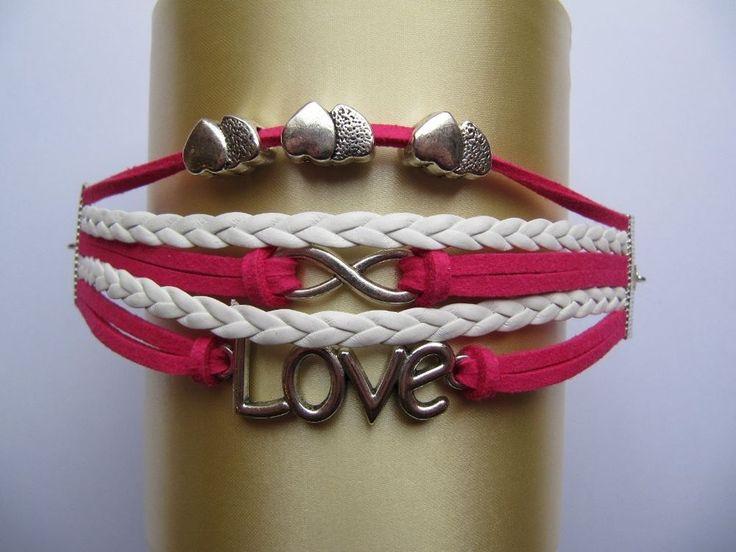Infinity Love & Hearts Charm Bracelet.  Pink & White Multi Strand Wrap Bracelet