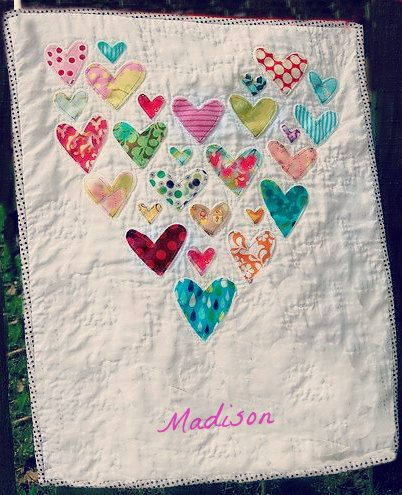 Adorable Baby Clothes Heart Memory Quilt  Made to by SewFancee