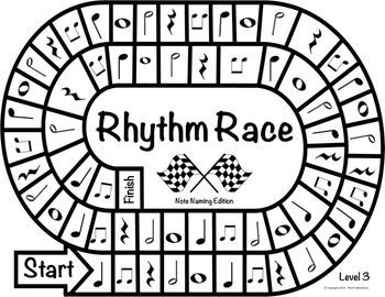 MUSIC CENTERS: RHYTHM RACE NOTE NAMING EDITION LEVEL 3 - RHYTHM GAME - TeachersPayTeachers.com