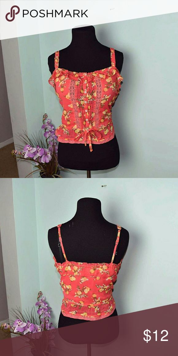 Abercrombie & Fitch Floral Sunset Orange Blouse In excellent condition. Very comfortable and beautiful. Abercrombie & Fitch Tops Blouses