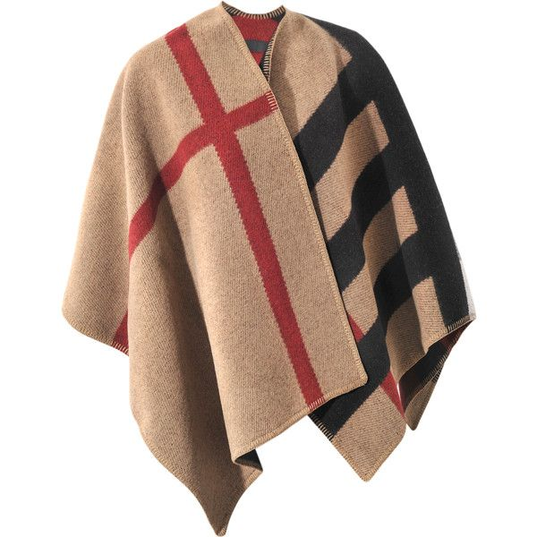 Burberry Mega Check Prorsum Poncho ($1,315) ❤ liked on Polyvore featuring outerwear, wool poncho, burberry poncho and burberry