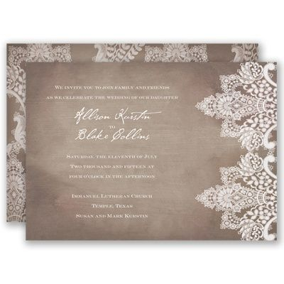 Vintage Lace - Invitation A chic, rustic design of antique lace printed on a subtle wood grain background on both sides of this romantic wedding invitation is perfect for your vintage wedding