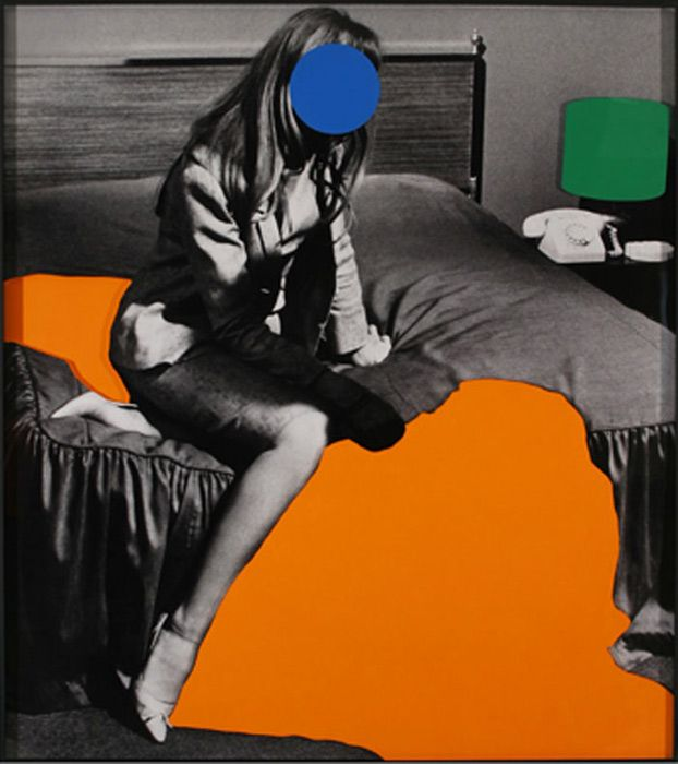 John Baldessari, Person on Bed (Blue): With Large Shadow (Orange) and Lamp (Green), 2004.