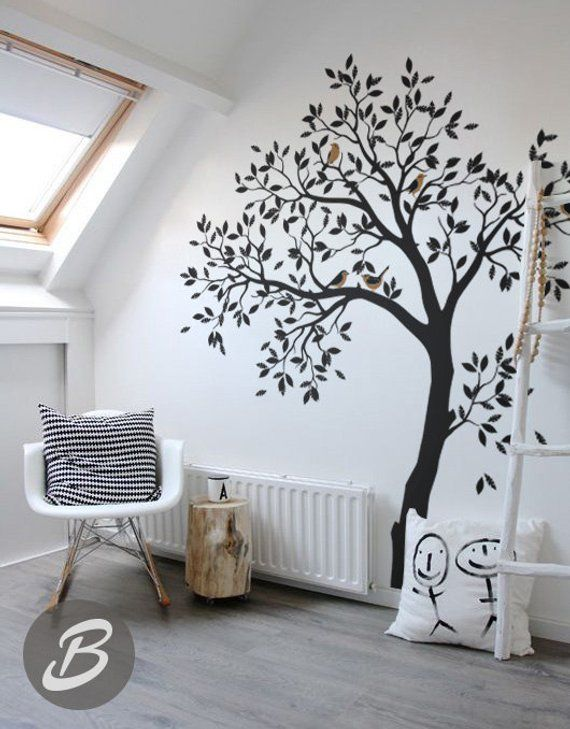 Grand Arbre Et Oiseaux Muraux Pour Chambre Denfant Vinyle Etsy Bird Wall Decals Tree Wall Decal Nursery Wall Decals