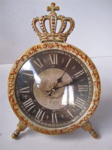 Rhinestone Crown Clock Old World Paris Tuscan Cross Mantle