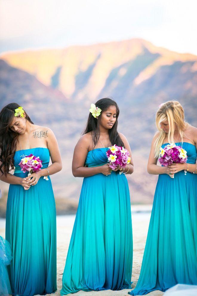 Hawaii Destination Wedding  Ombre Bridesmaid DressesBeach  305 best FOR THE BRIDESMAIDS images on Pinterest   Beach wedding  . Destination Wedding Bridesmaids Dresses. Home Design Ideas