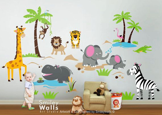 Safari Animals Wall Decal Jungle Animals Wall Decal by smileywalls