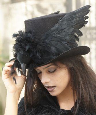 girls haunted raven top hat