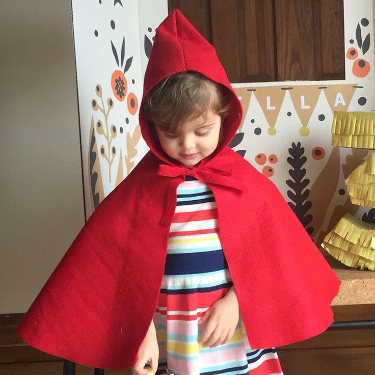 DIY Capa de chapeuzinho Vermelho de feltro DIY Little Red Riding  Hood Felt Costume Blog — Printa e Dobra