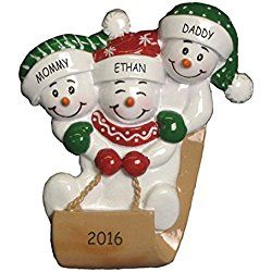 Personalized Sledding and Snowman Family Christmas Ornament (Family of 3)