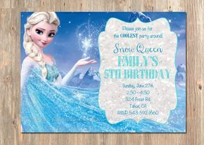Frozen Birthday Invitation, Elsa Frozen Invitation, Printable Frozen Invitation, Disney's Snow Queen Frozen Party Ideas Invites, Disney
