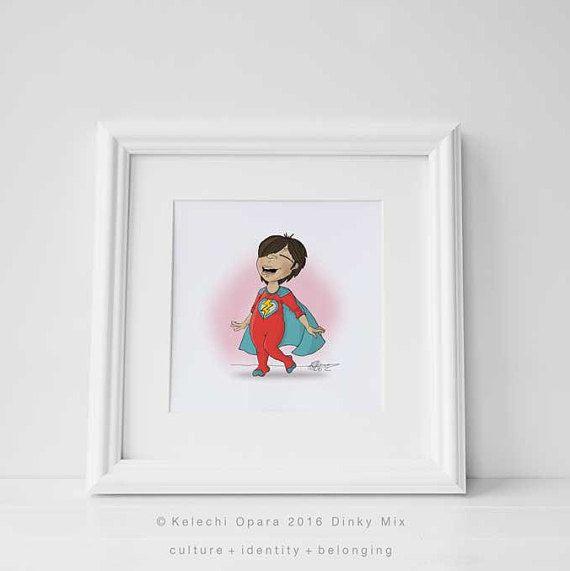 Dinky Mix 'I Am A Hero' Cute Olive skin Mediterranean Girl, Superhero illustration print, art for children,nursery decor