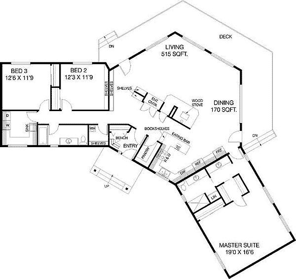 Plan 77135ld c shaped floor plan us house and first story for L shaped ranch plans