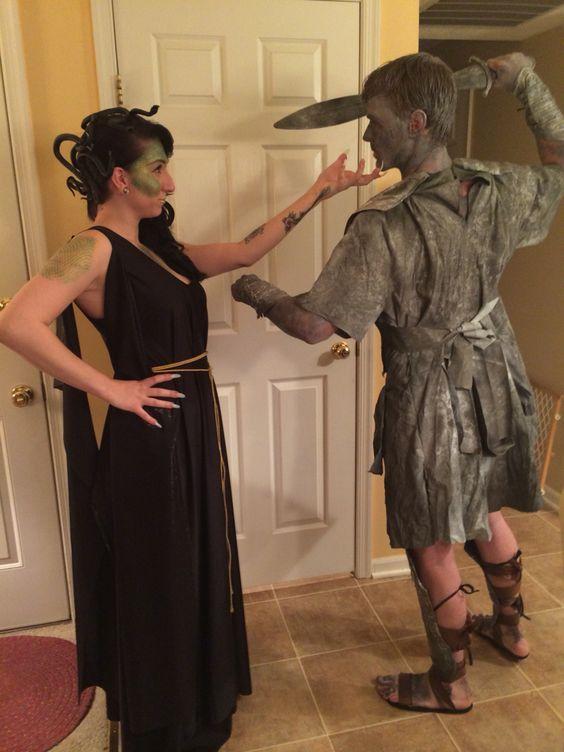 DIY Medusa & Stone Statue Halloween Couple Costume Idea
