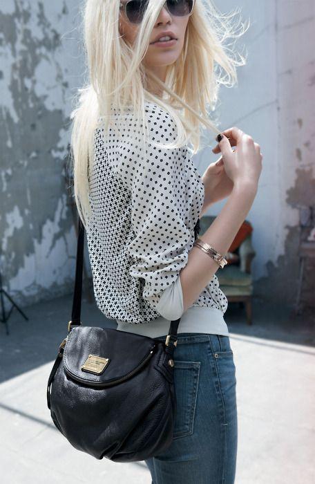 polka dots + crossbody bag.