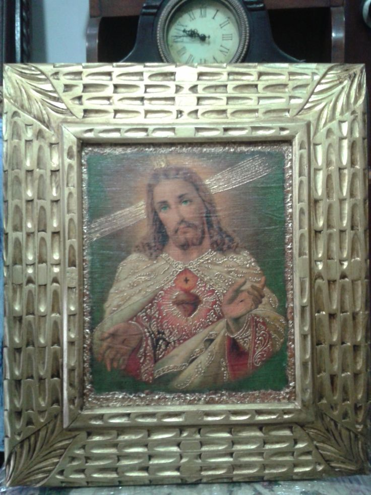 L mina sobre lienzo sagrado coraz n de jes s marco talla - Marcos para laminas ...