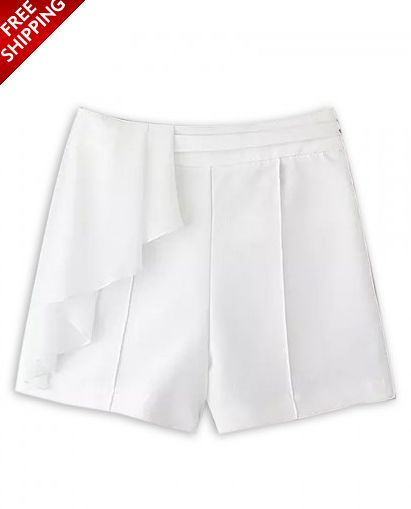 White Ruffle Shorts with Zipper in the Back www.ustrendy.com #UsTrendy