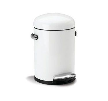 Buy simplehuman Round Retro Step Trash Can, White Steel, 4.5 L / 1.2 Gal - Topvintagestyle.com ✓ FREE DELIVERY possible on eligible purchases
